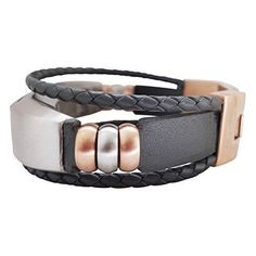 Fitbit Alta Band - Grey / Rose Gold - Aurel - Jewelry for Fitbit Alta - Fitbit Alta Accessories - Fitbit Alta Leather Band (No Tracker)