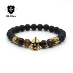 Tiger Eye Stone Bead Male Bracelet Gold-color Cubic Zirconia Helmet Spartan Gladiator Charm Bracelet Men Pulseira Masculina H71 #Affiliate