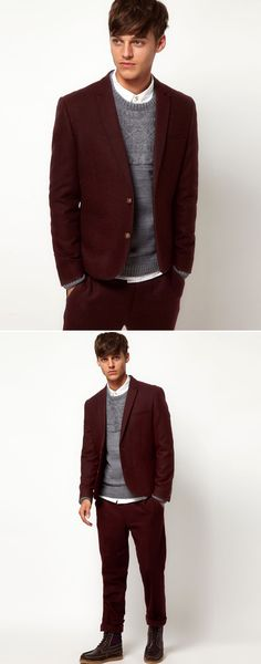 ASOS MENS BERRY WINE BURGUNDY SLIM FIT SUIT