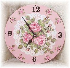 Shabby Chic Pink Rose Clock