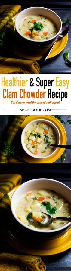 #Healthier Clam Chowder by @SpicieFoodie | #clamchowder