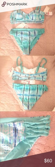 Ella Moss BNWT Corset Bustier Bikini Set XS BNWT and hygienic liner. Top is a corset/Bustier Style with double strap detailing; bottoms have braiding detail on sides. Moderate-less coverage. Straps adjustable! Make an offer :) Ella Moss Swim Bikinis