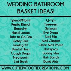 FREE PRINTABLE Bathroom Basket Ideas for Weddings by Cutie Patootie Creations. Visit our website for Wedding Invitations and more! www.cutiepatootiecreations.com