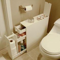 Smart way to add a little extra storage in a small bathroom. Proman Bath Floor Cabinet - Space Savers at Hayneedle Bathroom Floor Cabinets, Bathroom Flooring, Rv Bathroom, Narrow Bathroom, Bathroom Ideas, Bathroom Hacks, Compact Bathroom, Master Bathroom, Bathroom Designs