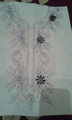 Grand Sewing Embroidery Designs At Home Ideas. Beauteous Finished Sewing Embroidery Designs At Home Ideas. Border Embroidery Designs, Bead Embroidery Patterns, Simple Embroidery, Silk Ribbon Embroidery, Beaded Embroidery, Beading Patterns, Embroidery Stitches, Bordados Tambour, Sewing Art