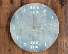 Tide Clock Driftwood Light Blue and White 17/39 by ReclaimedTime