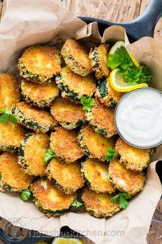Crisp Zucchini Bites with Garlic Aioli Dip | NatashasKitchen.com