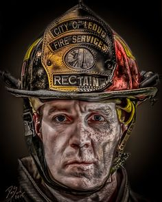 Leduc firefighter Daniel Sundahl says reliving the most anguished moments of his job through art has given him the strength to overcome post-traumatic stress disorder. And now his artwork will help others suffering from psychological trauma. Fire Dept, Fire Department, Firefighter Paramedic, Firefighter Decor, Police Life, Police Cars, Fire Helmet, Emergency Responder, Fire Trucks