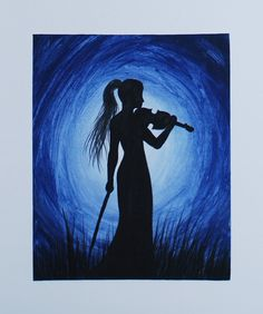 Acrylic Silhouette Painting on canvas board. In this Violinist Silhouette Painting I used navy blue, black and white acrylic paint. Please Subscribe! https:/...