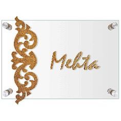 Glass and Wood Motif Name Plate (Mehta)