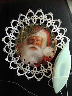 I honestly don't know what to make of this tatted-framed Santa illustration. Ornament, I guess? Needle Tatting, Tatting Lace, Tree Tat, Tatting Patterns Free, Old Christmas, Christmas Cards, Tatting Tutorial, Xmas Cross Stitch, Tatting Jewelry