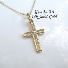 Solid Gold Cross necklace,Dainty gold cross pendant,simple small cross,religious cross symbol,orthodox cross,catholic cross,minimalist cross