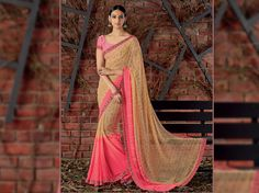 Look Royal with Our Cream & Pink Georgette Stone Work Saree and Brocade Pink Blouse along with Satin Silk Printed Lace Border from Laxmipati.com. Limited stock! 100% Genuine Products! #Catalogue #SIFAANI #Design Number: 4376 Price - Rs. 1742.00 #COD also Available.  #Bridal #ReadyToWear #Wedding #Apparel #Art #Autumn #Black #Border #CasualSarees #Clothing ‪#ColoursOfIndia ‪#Couture #Designer #Designersarees #Dress #Dubaifashion #Ecommerce #EpicLove ‪#