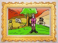 Autoritratto con mucca, ciclista e contadino