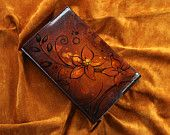 Large Leather Journal Cover - Hand Drawn Flowers $85