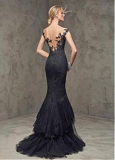 Gorgeous Dot Tulle & Tulle Off-the-Shoulder Neckline Mermaid Evening Dresses with Lace Appliques