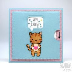 Tarjeta gatuna para el reto de Neat & Tangled - A cat card for the Neat & Tangled challenge (Bagatelas de papel) 3d Cards, Pop Up Cards, Paper Cards, Cool Cards, Diy Unicorn Bag, Diy Birthday, Birthday Cards, Neat And Tangled, Slider Cards