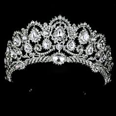 Online Shop 2017 Hot European Silver Plated Blue Rhinestones Quinceanera Metal Fine Vintage Luxury Royal Tiaras And Crowns Wedding Party Royal Tiaras, Royal Jewels, Tiaras And Crowns, Crown Jewels, Prom Jewelry, Jewelry Party, Hair Jewelry, Jewelry Sets, Prom Earrings