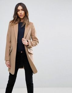 ASOS Slim Boyfriend Coat with Zip Pocket Business Casual Office Outfits for women Miss Louie
