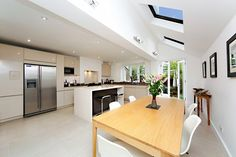 Plus Rooms - Kitchen Extensions & Loft Conversions in London Roof Light, Extensions, Kitchens, House Ideas, Loft, Rooms, Lights, Table, Furniture