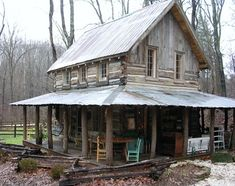 Restored 150-year-old tiny cabin with a big porch. so cute and cozy looking! by marisa