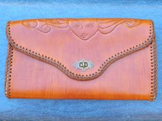Large Vintage 60's/70's Tooled Leather Clutch by PattiandSedgwick, $40.00