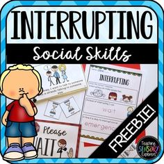 Interrupting: Social Skills Worksheet, Activity and Social Narrative Social Skills Lessons, Coping Skills, Developmental Disabilities, Learning Disabilities, Teaching Kids, Teaching Resources, Emotional Development, Social Emotional Learning, Social Stories