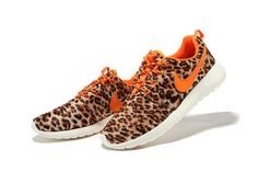 Nike Roshe Run Brown Leopard Womens Shoes Outlet Sales