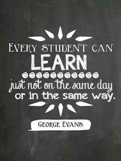 Inspirational Quotes: Every student can learn just not on the same day or in the same way. - George Evans.