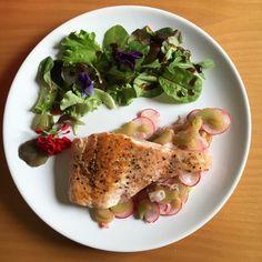 Gebratener Lachs mit Rhabarber-Radieschen-Pickle