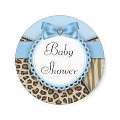 Brown and Blue Safari Baby Shower Stickers