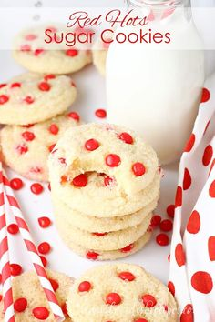 Red Hots Cake Mix Sugar Cookies Recipe: These easy cake mix cookies are studded with cinnamon flavored candies. Perfect for Valentine's Day, and a great recipe to have kids help with in the kitchen. Valentine Desserts, Valentines Baking, Cake Mix Cookies, Sugar Cookies, Sweet Cookies, Low Carb Cheesecake, Strawberry Puree, Unsweetened Chocolate, Gluten Free Cakes