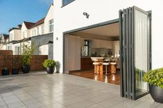 Kantec Bifold doors another good supplier. Are you thinking white ones to tie in with existing windows, or anthracite/black? Pavillion, Back Garden Design, Traditional Doors, Folding Doors, House Extensions, Patio Doors, Luxury Homes, New Homes, Yard