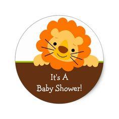 Shop Cute Lion Baby Shower Sticker created by celebrateitinvites.