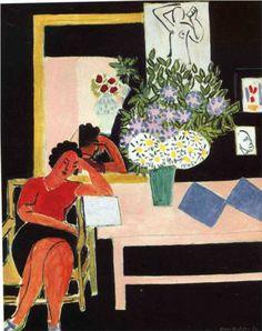 Henri Matisse (1869 - 1954) | Expressionism | Reader on a Black Background - 1939