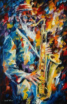 Pharaoh Sanders — Limited Edition Saxophone Musician Portrait Print On Canvas By Leonid Afremov. Siz