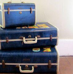 Blue Vintage Luggage!!! Bebe'!!! Neat!!!