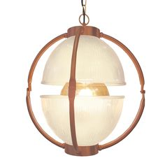 Matt Copper Glass Orb Pendant Light Bespoke Traditional Matt Copper Glass Orb Pendant Light Fitting, two open glass dome shades in either Prismatic Ribbed Glass or Frosted Glass.  Matt Copper metalwork can be combined with any Colour/Length Flex.