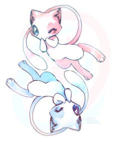 All about pokemon, games and cartoons Pokemon Mew, Pokemon Fan Art, Mew And Mewtwo, Pokemon Tattoo, Cute Animal Drawings, Cute Drawings, Shiny Mew, Pokemon Mignon, Pokemon Backgrounds