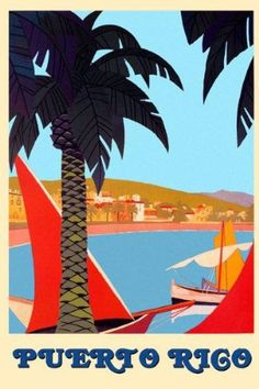 "AmazonSmile: Puerto Rico Paradise Sailboat Boat Ocean Sea Beach Travel Tourism 12"" X 16"" Image Size Vintage Poster Reproduction: Prints: Posters & Prints"