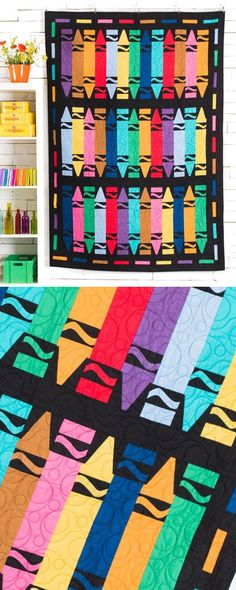 Make a colorful crayon quilt for your baby the artist. Hang it on the wall as a tapestry or use it in the crib!