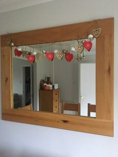 Garland hung with wooden hearts and bells Coming Home For Christmas, All Things Christmas, Christmas Home, Heart Garland, Wooden Hearts, Christmas Decorations, Valentines, Crafty, Handmade