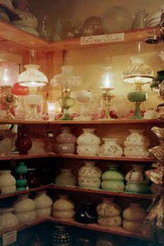 Lamp Shop Pictures Page 2 Antique Hurricane Lamps, Hurricane Lamp Shade, Hurricane Oil Lamps, Antique Oil Lamps, Antique Glassware, Fenton Glassware, Vintage Light Fixtures, Vintage Lamps, Fenton Lamps