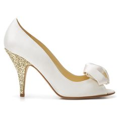 Ivory satin gold glitter heel by Kate Spade New York