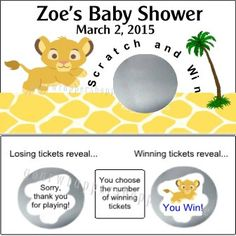 Baby Shower Lion King Party Game Scratch off by YourWrapperShoppe, $9.99