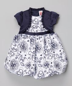 Love this Navy & White Bubble Dress & Jacket - Infant, Toddler & Girls on #zulily! #zulilyfinds