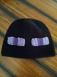 Minecraft Enderman Hat Pattern available OR message to have one made Minecraft Hat, Minecraft Crochet, Crochet Gifts, Crochet Yarn, Textiles, Kids Hats, Crochet For Kids, Yarn Crafts, Crochet Projects