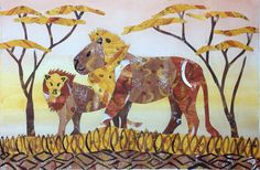 Art Lesson V-5: The Lion Collage from Kenya. One weekend, when the Tacoma Art Museum was exhibiting Eric Carle's paintings, a vendor from Kenya was selling collages made of banana leaves. We bought a placemat with a collage portraying two lions. Seeing those two styles of collage in one weekend inspired us to combine Carle's techniques with the subject of the Kenyan collage into an art lesson. Try the lesson—the results make you roar with pride! As always, the lesson teaches itself for you…