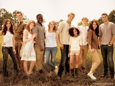 The young cast of the Hunger Games: from left, Isabelle Fuhrman as Clove; Jack Quaid as Marvel; Jacqueline Emerson as Foxface; Dayo Okeniyi as Thresh; Leven Rambin as Glimmer; Alexander Ludwig as Cato; Amandla  Stenberg as Rue; Josh Hutcherson as Peeta Mellark; Jennifer Lawrence as Katniss Everdeen; and Liam Hemsworth as Gale Hawthorne.