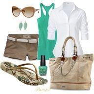 Khaki shorts, white shirt, green tank